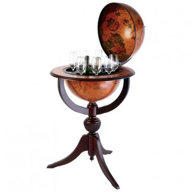 "Kassel� 26"" Diameter Replica of Italian Hand-Painted Globe Bar - HHGLB670 - FREE SHIPPING!"