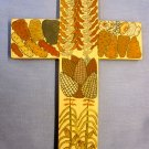 Panel painting - Cross with Corn and Potatoes -12x8""
