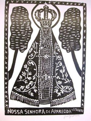 "Woodblock print - Our Lady of Aparecida - 13x19"""