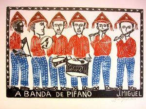 "Woodblock print - A Band of Musicians- 13x19"""