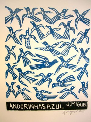 "Woodblock print - Blue Andorinhas- 13x19"""