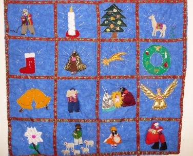 "Peruvian Wall Hanging - Christmas Images - Cuadro - 17""X19"""