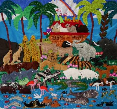 """Peruvian Wall Hanging - Noah's Ark- Cuadro """"Arca de Noe"""" 17""""x19"""""""