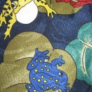 Renaissance polyester blue tie colorful FROGS