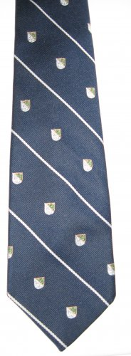 Van Heusen navy blue stripe and shield man's tie