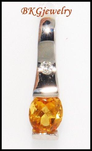 18K White Gold Genuine Diamond Citrine Gemstone Pendant [P0052]