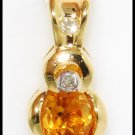 Gemstone Citrine Pendant Eternity Diamond 18K Yellow Gold [P0057]
