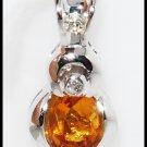 Unique Citrine Pendant Diamond Gemstone 18K White Gold [P0058]