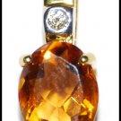 Citrine Jewelry Diamond Pendant Gemstone 18K Yellow Gold [P0135]