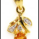 Unique Diamond Citrine Gemstone Pendant 18K Yellow Gold [P0056]