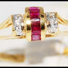 18K Yellow Gold Diamond and Natural Unique Ruby Ring [R0042]