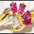 Three For Men Red Ruby Diamond Ring 18K Yellow Gold [R0092]