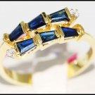 Gemstone Diamond Unique 14K Yellow Gold Blue Sapphire Ring [RR036]