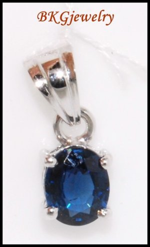 18K White Gold Blue Sapphire Solitaire Pendant Gemstone [P0048]