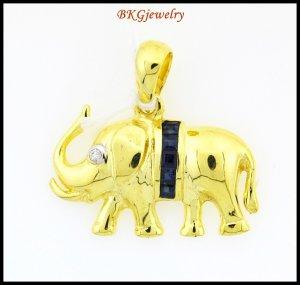 Unique Diamond Blue Sapphire Elephant Pendant 18K Yellow Gold [P0017]