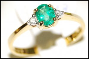 Emerald Diamond Jewelry Solitaire 18K Yellow Gold Ring [RS0003]