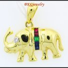 Multi Gemstone Elephant Pendant 18K Yellow Gold Diamond [P0021]