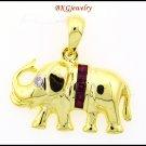 Natural Ruby 18K Yellow Gold Diamond Elephant Pendant [P0019]