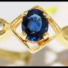 Genuine Blue Sapphire Solitaire 18K Yellow Gold Diamond Ring [R0103]