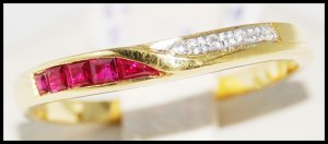 18K Yellow Gold Diamond Natural Unique Ruby Band Ring [R0046]