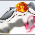 Yellow Sapphire Solitaire Ring Gemstone 14K White Gold [RR0047]