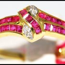Diamond Ruby Wedding 14K Yellow Gold Gemstone Ring [RR014]