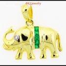 Elephant Pendant Diamond Natural Emerald 18K Yellow Gold [P0015]
