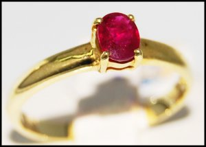14K Yellow Gold Wedding Solitaire Ruby Gemstone Ring [RR054]