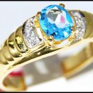 14K Yellow Gold Unique Diamond Gemstone Blue Topaz Ring [RR0049]