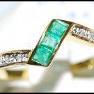 Gemstone 18K Yellow Gold Eternity Diamond Emerald Ring [R0024]