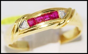 18K Yellow Gold Wedding Unique Ruby and Diamond Ring [R0048]