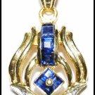 18K Yellow Gold Blue Sapphire Gemstone Diamond Pendant [P0134]