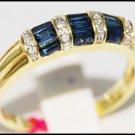Diamond 14K Yellow Gold Eternity Gemstone Blue Sapphire Ring [RR034]