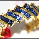 Eternity Diamond Blue Sapphire Gemstone Ring 14K Yellow Gold [RR070]