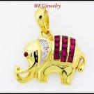 Diamond Eternity Ruby Elephant Pendant 18K Yellow Gold [P0008]