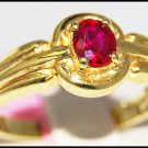 Unique 14K Yellow Gold Solitaire Gemstone Ruby Ring [RR052]