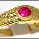 14K Yellow Gold Solitaire Genuine Gemstone Ruby Ring [RR050]