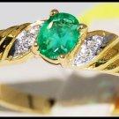 Diamond Genuine 18K Yellow Gold Emerald Solitaire Ring [R0102]