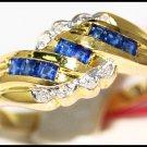Diamond Unique Gemstone Blue Sapphire Ring 14K Yellow Gold [RR040]