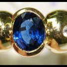 Solitaire 18K Yellow Gold Diamond Oval Blue Sapphire Ring [RS0138]