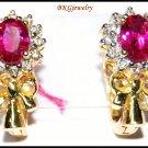 Clip-On Ruby Gemstone Ribbon Earrings 14K Yellow Gold [E_108]