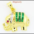Elephant Diamond Gemstone Emerald Pendant 18K Yellow Gold [P0007]