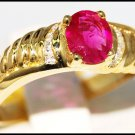 Genuine Solitaire Diamond 14K Yellow Gold Ruby Ring [RR048]