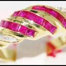 Natural 14K Yellow Gold Diamond Gemstone Ruby Ring [RR037]