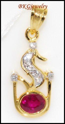 18K Yellow Gold Diamond Eternity Gemstone Ruby Pendant [P0029]