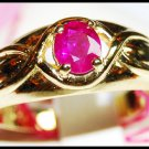 Unique Gemstone 14K Yellow Gold Solitaire Ruby Ring [RR011]