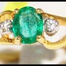 Solitaire Emerald Wedding Diamond 18K Yellow Gold Ring [R0093]