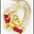 Natural 18K Yellow Gold Diamond Heart Ruby Pendant [P0106]