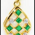 Diamond 18K Yellow Gold Natural Gemstone Emerald Pendant [P0081]
