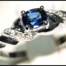 Diamond Genuine Solitaire Blue Sapphire Ring 18K White Gold [RS0111]